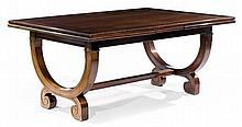 LOUIS SÜE (1875-1968) & ANDRÉ MARE (1885-1932) A rectangular extending mahogany and mahogany veneer dining table. HEIGHT. 29 7/8 IN. -