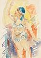 GEORG TAPPERT (1880-1957) ACTRICE AU CHAPEAU BLEU Aquarelle et crayon sur papier 31 X 22cm