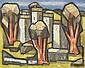 GINÉS PARRA (1896-1960) PAYSAGE CUBISANT Huile sur toile Signée en bas à droite 81 X 100cm