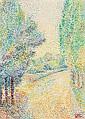 Hippolyte Petitjean (1854-1929) Paysage au jardin Aquarelle sur papier Signée du cachet de l'atelier en bas à droite 28 x 20cm