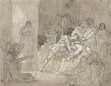 Henri REGNAULT (Paris 1843-Buzenval 1871) Achille pleurant Patrocle Crayon noir, lavis brun et rehauts de gouache blanche 12,5 x 16 ...