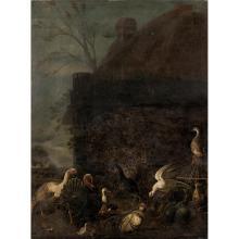 ATTRIBUÉ À GIORGIO DURANTI (1683-1768) PAON ET VOLATILES Toile Restaurations anciennes 185 x 130 cm
