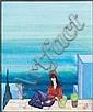 JELLAL BEN ABDALLAH(né en 1921)JEUNE FILLE DEVANT LA MERHuile sur papier signée en bas à droite en français et en arabe.à VUE : ..., Jellal Ben Abdallah, Click for value