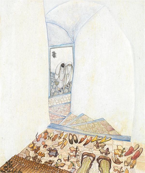 JELLAL BEN ABDALLAH(né en 1921)SOCQUES A L'ENTRÉE DU HAREMHuile sur papier signée en bas à droite en français et en arabe.à VUE ...