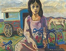 Maurice Georges PONCELET (1879-1978) Bohémienne à la Roulotte, 1950 Huile sur toile Signée et datée en bas à droite 27 X 35 cm