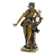 ALBERT-ERNEST CARRIER-BELLEUSE (1824-1887) Mélodie Bronze à patine brun clair. Signé A. Carrier-Belleuse à droite sur la colonne e...