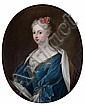 Attribué à Louis de SILVESTRE (1675 - 1760) Marie-Amélie d'Espagne, épouse de Charles III Toile ovale 77 x 63,5 cm, Louis