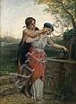 Bartolomeo GIULIANO(Suse 1825 – Milan 1909) La surprise près de la fontaine Toile 114 x 84 cm Signée en bas à gauche: B. Giuliano, Bartolommeo Giuliano, Click for value