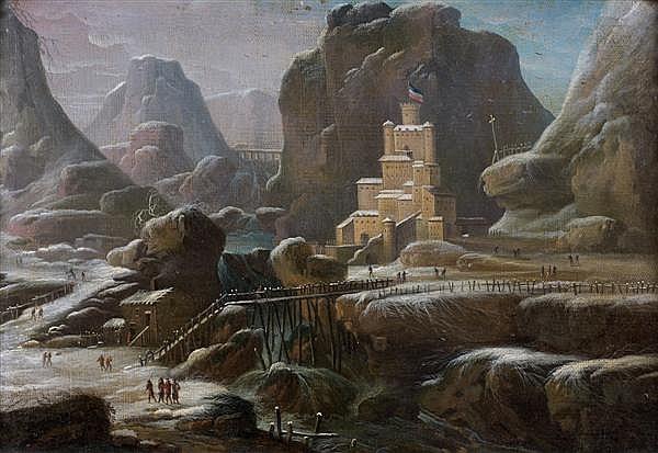 Attribué à Johann Oswald HARMS(1643 - 1708) Paysage de neige avec un château au bord d'une falaise Toile 32,3 x 46,5 cm Restauration...