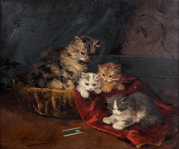 ƒAlfred Arthur BRUNEL de NEUVILLE(Paris 1852 – 1941) Chatons s'amusant avec une navette de fil Toile 54 x 65 cm Signée en bas à gauc...