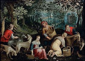 Attribué à Cornelis de BAELLIEUR, d'après Jacopo BASSANO (1607 – 1671) Le printemps Cuivre 21 x 30 cm
