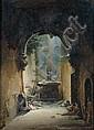 Charles-Caïus RENOUX (Paris 1795 – 1846) Le repos des gardes dans des ruines romanes : «le château d'Adolphe» Sur sa toile d'origi..., Charles Caïus Renoux, Click for value
