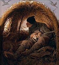 Peter Heinrich Lambert Von HESS (Düsseldorf 1792 – Münich 1871) Chasseur à la hutte Panneau de pin, une planche, non parqueté 20 x 1...