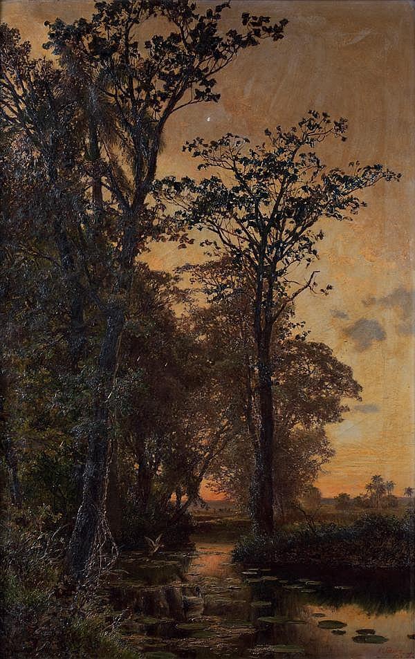 Valentin SANZ CARTA (École espagnole 1850 - 1898, Actif à Cuba à partir de 1884)  Vue d'un Sous-bois à cuba Sous-bois marécageux à c...