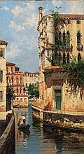 Antonietta Brandeis (1849-1910) Vue du Palazzo Albrizzi Huile Oil on panel Signed lower right  - 10 1/4 x 5 7/8 in
