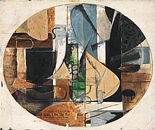 Perle Fine (1905-1988) Cubist Abstraction, 1936 Huile et collage sur toile Signée et datée en bas à droite Oil and collage on canvas