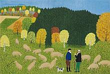 Helena Jaurisova (Née en 1904) Les bergers, 1974 Huile sur carton Signée et datée