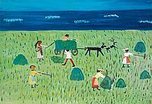 Natalie Schmidtova (née en 1895) Les moissons, 1975 Huile sur papier Signée et datée 1975 en bas à droite 41 x 52 cm