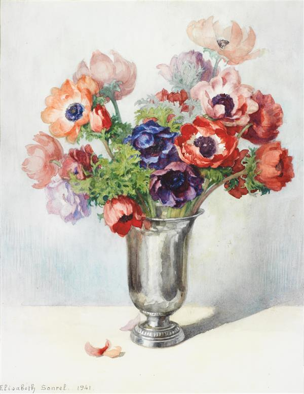 Lizabeth sonrel 1874 1953 bouquet de fleurs 1941 aquarel for Bouquet de fleurs wine