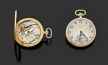 BREGUET PRODUITE EN 1924, VENDUE LE 22 JUIN 1926 à Mr. SCHAEFER POUR LA SOMME DE 3 600 FFR Montre de poche en or jaune. Cadran argen...