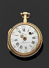 J. ZAC à TOULOUSE SECONDE MOITIÉ XVIIIème siècle Montre de poche en or rose époque Louis XVI. Lunette ciselée. Revers centré d'un mé...