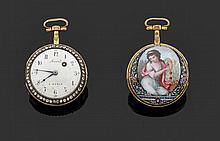 JORAND à PARIS SECONDE MOITIÉ DU XVIIIème siècle Montre de poche en pomponne époque Louis XVI. Lunette sertie de pierres blanches (j...