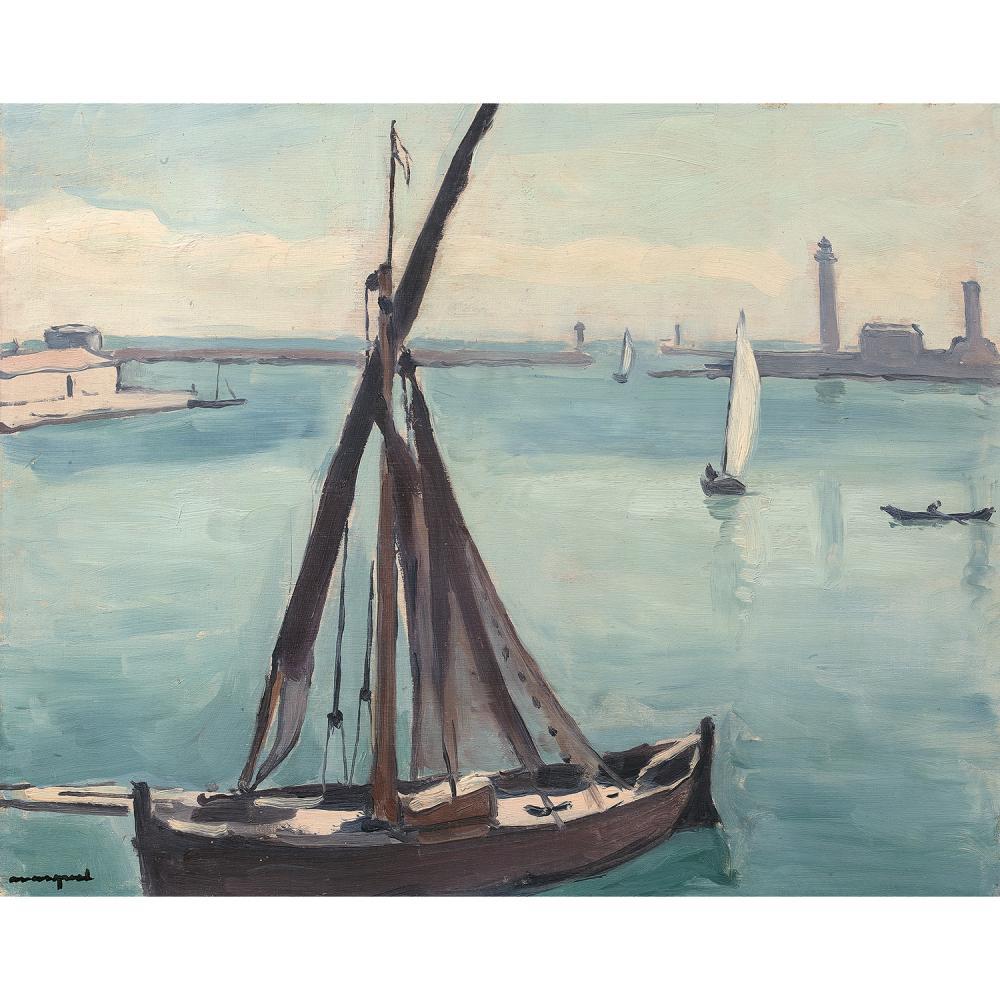 ALBERT MARQUET (1875-1947) BÂTEAU-BŒUF, CETTE (SÈTE) Huile sur panneau Signée en bas à gauche Étiquette de la galerie Druet...