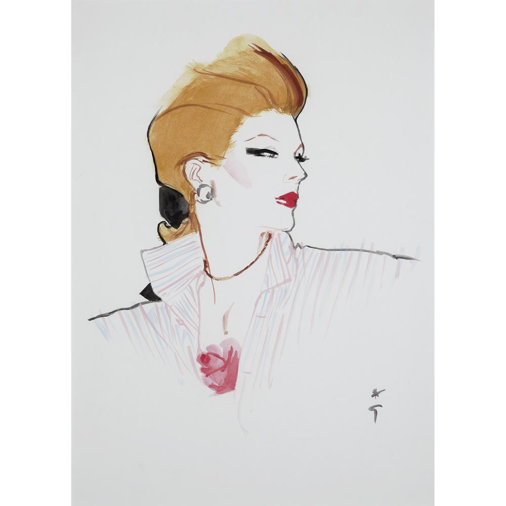 ƒ RENÉ GRUAU (1909-2004) CHEMISE OUVERTE ET CHEVEUX NOUÉS Watercolor on paper; signed with the artist's monogram lower right 47,5 X 34