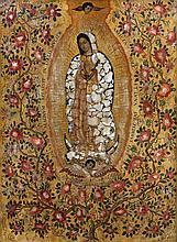 ATTRIBUÉ À MIGUEL GONZALEZ (ÉCOLE MEXICAINE SECONDE MOITIÉ DU XVIIÈME SIÈCLE) VIERGE DE GUADALUPE Panneau entoilé, incrusté de nacre...