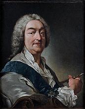 ATTRIBUÉ À JEAN-FRANÇOIS DE TROY (PARIS 1679 - ROME 1752) AUTOPORTRAIT DE L'ARTISTE Toile 64,5 X 51,5 CM Inscription peinte en bas ...