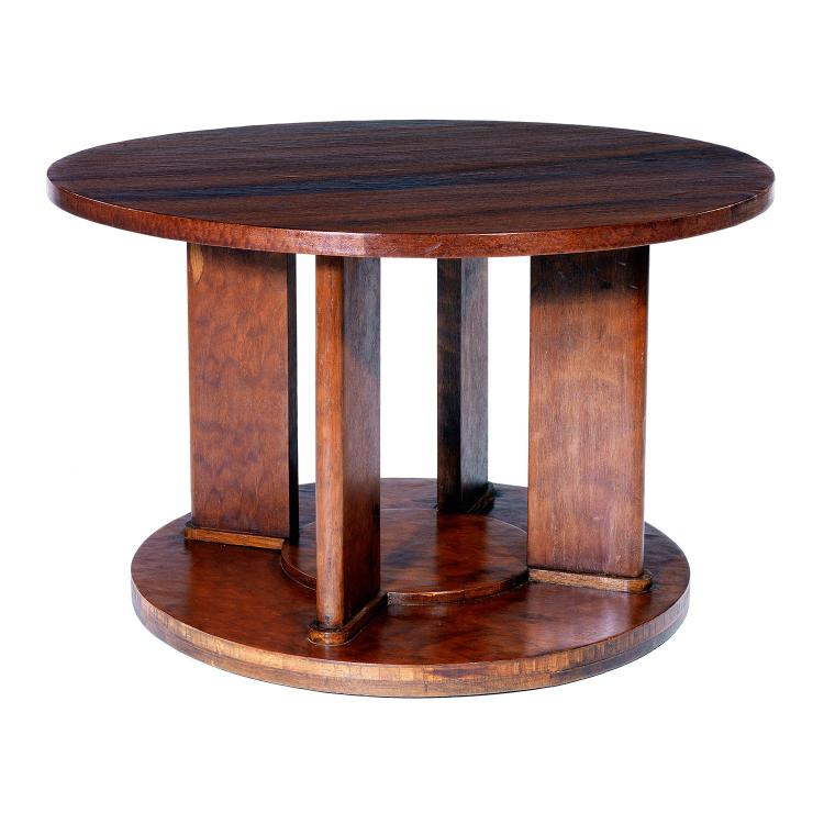Jules leleu 1883 1961 table basse circulaire en noyer plac for Pietement de table