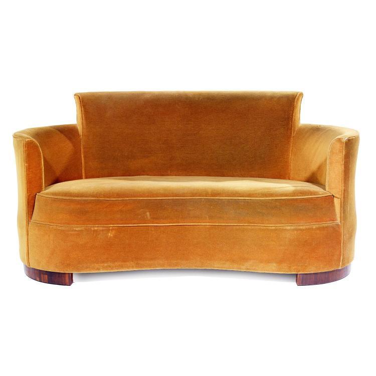 jules leleu 1883 1961 canap corbeille pi tement en arc de. Black Bedroom Furniture Sets. Home Design Ideas