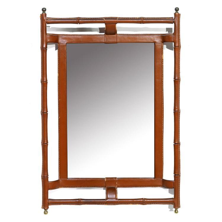 Jacques adnet 1900 1984 miroir rectangulaire double encad for Miroir encadrement metal
