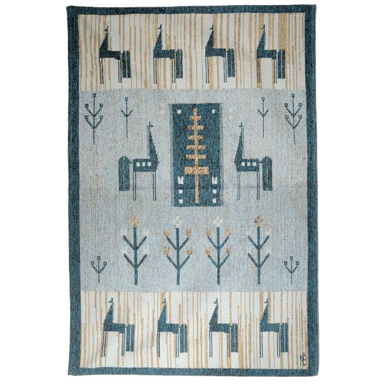 Travail su doistapis ras tiss main en laine d cor stylis - Decoration bleu canard ...