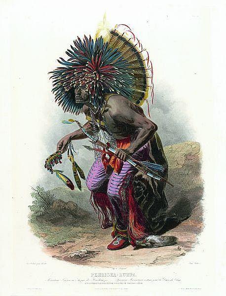 KARL BODMER (daprès)Pehriska-Ruhpa, Mönnitari Krieger, costumé pour la danse des chiens. Aquatinte coloriée par René Rollet. 530 x 390