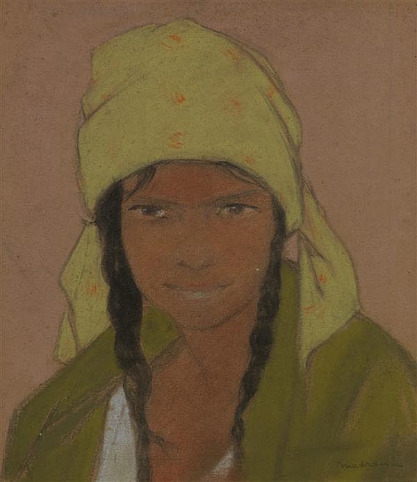 Ludovic Lucien Madrassi (1881—1956) Portrait de jeune fille Pastel sur papier fort Signé en bas à droite 36,5 x 32,5 cm