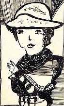 Madge Gill (1882 - 1961) Portrait de femme Encre sur papier 13,5 x 8cm