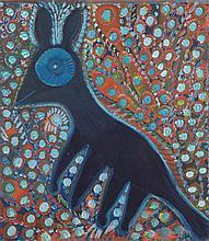 Anselme Boix-Vives (1899-1969) Le renard noir Huile sur carton Signée en bas au centre 67 x 59cm