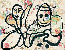 GASTON CHAISSAC (1910-1964) Composition avec deux personnages Encre sur papier imprimé 30 x 38,5cm