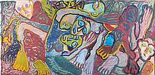 ƒ Rosemarie Kôczy (1939-2007) Déportation train Huile et pastel sur papier 129 x 267 cm