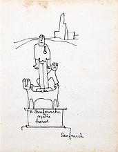 Jean-Joseph Sanfourche (Né en 1932) À Sanfourche notre héros Encre sur papier Titrée et signée en bas à droite 21 x 16,5cm