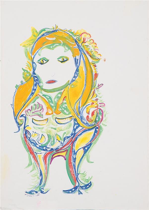 Martha Grunenwald (1910-2008) Personnage, 1999 Aquarelle et pastel sur papier Signée en bas à gauche 47 x 34cm