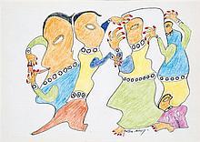 Gaston Mouly On se cache, 1990 Crayons et crayons de couleur sur papier Signé en bas à droite Signé et daté