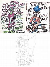 WILLIE JINKS - XXe  siècle - Personnages, 2004 3 dessins Feutre et crayon sur papier 27,5 x 21cm chaqu' un