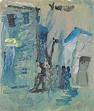 Purvis Young (Né en 1943) la place Huile sur carton Signée en haut à droite 47,5 x 40cm