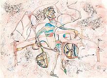 Charles Keeling Lassiter (1926) Le cycliste, 1984 Aquarelle et encre sur papier Signée et datée