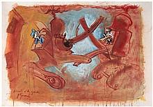 Gérard Garouste Donald et les grues, 2014 Gouache sur papier Signé et titré en bas à gauche 63 x 90 cm avec le cadre