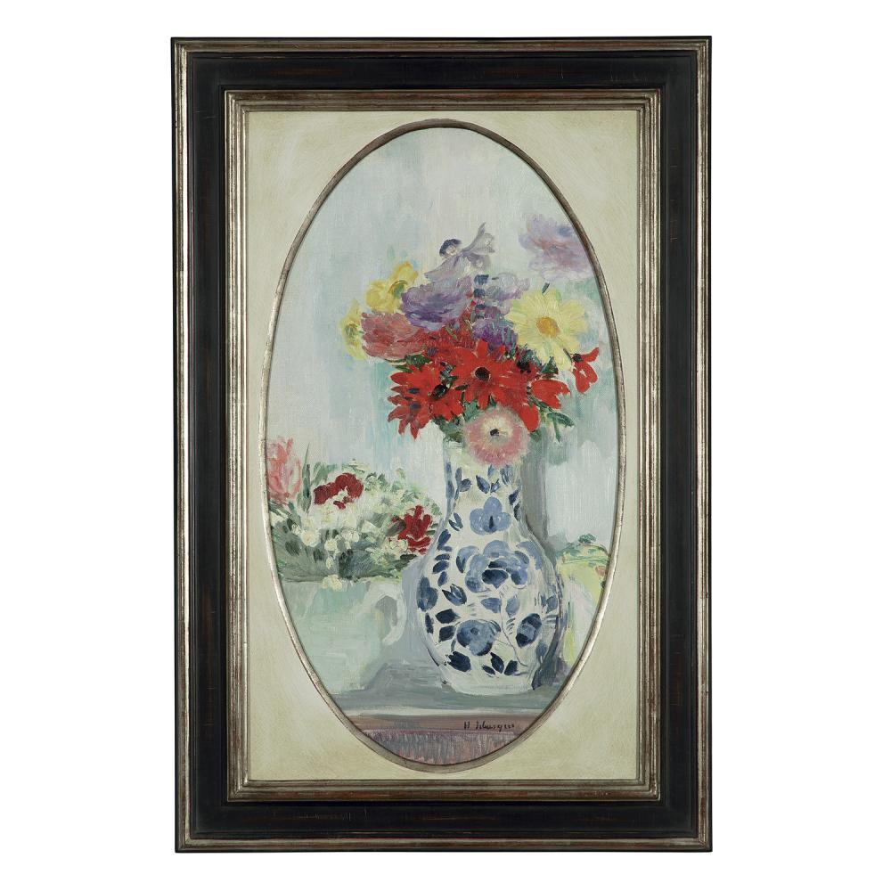 HENRI LEBASQUE (1865-1937) BOUQUETS DE FLEURS SUR UN ENTABLEMENT Huile sur toile marouflée sur panneau Signée en bas à dro...