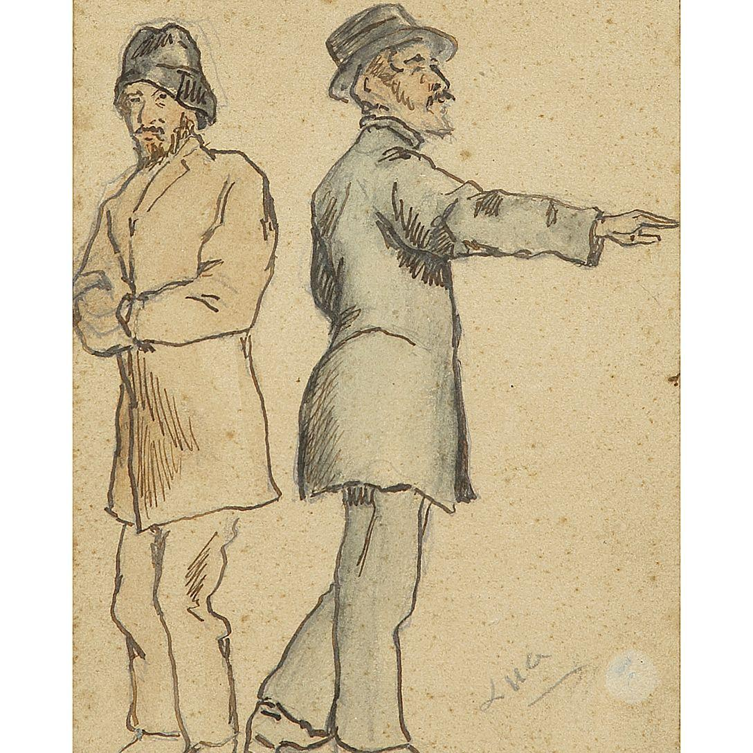 MAXIMILIEN LUCE (1858-1941) ÉTUDE POUR DEUX HOMMES DEBOUT Pencil, ink and watercolor on paper; signed lower right 15,4 X 11,5 CM - 6 X