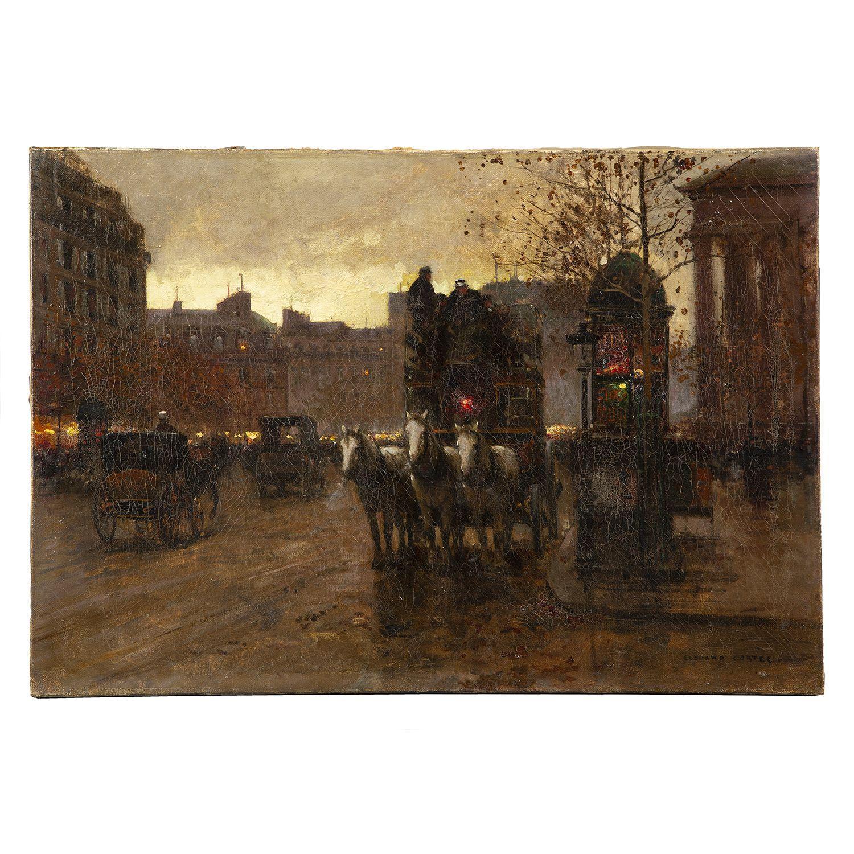 ÉDOUARD-LÉON CORTÈS (1882-1969) PLACE DE LA MADELEINE, LE SOIR Oil on canvas; signed lower right 38 X 55 CM - 15 X 21 5/8 IN. Collect